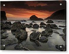 Indian Beach Sunset Acrylic Print by Rick Berk