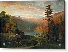 Indian By A Lake In A Majestic California Landscape Acrylic Print by Thomas Hill