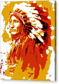 Indian Chief  Abstract Acrylic Print by Daniel Hagerman