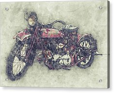 Indian Chief 1 - 1922 - Vintage Motorcycle Poster - Automotive Art Acrylic Print