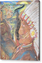 Indian Chief On French Velvet Acrylic Print by Bob Smith