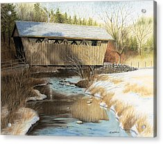 Indian Creek Covered Bridge Acrylic Print by James Clewell