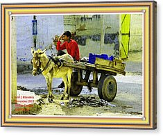 Indian Donkey Cart Owner H A With Decorative Ornate Printed Frame. Acrylic Print by Gert J Rheeders