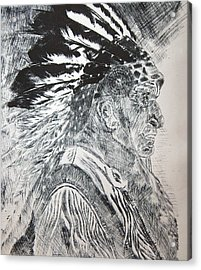 Indian Etching Print Acrylic Print by Lisa Stanley