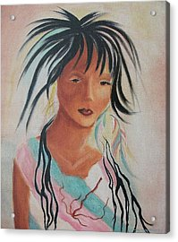 Indian Girl Acrylic Print by Suzanne  Marie Leclair