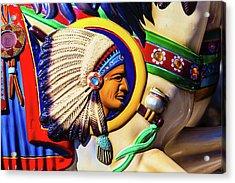 Indian Head On Carrousel Horse Acrylic Print