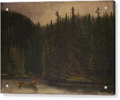 Indian  Hunters  In  Canoe Acrylic Print by Celestial Images