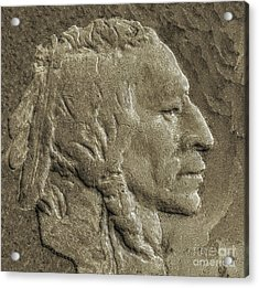 Indian In Stone   Acrylic Print by Randy Steele