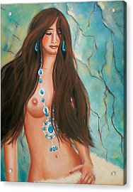Indian Maiden In Turquoise Acrylic Print by Joni McPherson