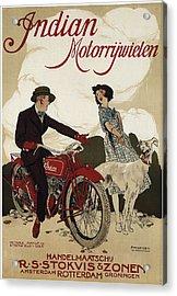 Indian Motorrywielen  C. 1915 Acrylic Print by Daniel Hagerman