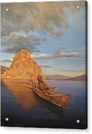 Indian On Lake Pyramid Acrylic Print