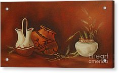 Indian Pottery With Wheat Acrylic Print by Ann Kleinpeter