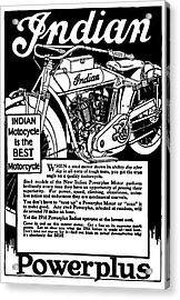 Acrylic Print featuring the digital art Indian Power Plus Motocycle Ad 1916 by Daniel Hagerman