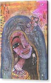 Indian Rajasthani Woman With Colorful Background  Acrylic Print