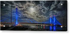 Indian River Bridge Moonlight Panorama Acrylic Print