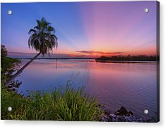 Indian River State Park Bursting Sunset Acrylic Print