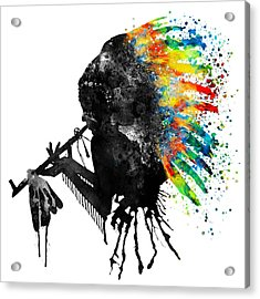 Indian Silhouette With Colorful Headdress Acrylic Print