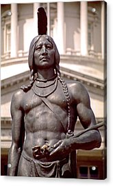 Indian Statue At Utah State Capitol Acrylic Print by Steve Ohlsen
