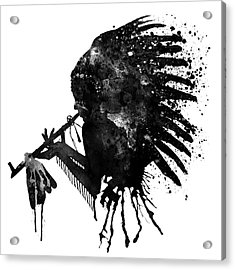 Acrylic Print featuring the mixed media Indian With Headdress Black And White Silhouette by Marian Voicu