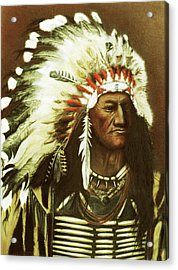 Indian With Headdress Acrylic Print by Martin Howard