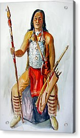 Indian With Spear And Arrows Acrylic Print by Murray Keshner