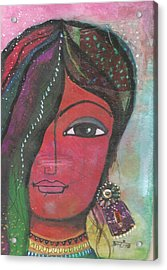 Indian Woman Rajasthani Colorful Acrylic Print
