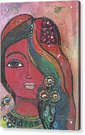 Indian Woman With Flowers  Acrylic Print