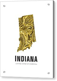 Indiana Map Art Abstract In Gold Yellow Acrylic Print