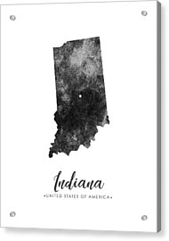 Indiana State Map Art - Grunge Silhouette Acrylic Print