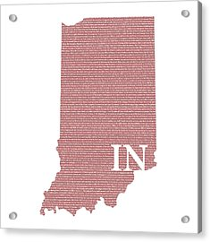 Indiana State Map With Text Of Constitution Acrylic Print by Design Turnpike