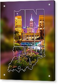 Indiana Typographic Blur - Downtown Indianapolis Skyline At Night - United States Artwork Acrylic Print by Gregory Ballos