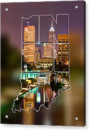 Indiana Typographic Blur - Indianapolis Skyline - Canal Walk Bridge View - State Shapes Series Acrylic Print