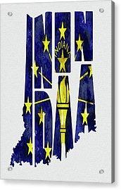 Indiana Typography Map Flag Acrylic Print