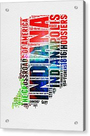 Indiana Watercolor Word Cloud Map  Acrylic Print by Naxart Studio