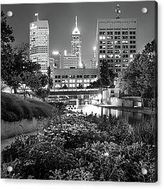Indianapolis Canal Walk Skyline Black And White 1x1  Acrylic Print by Gregory Ballos