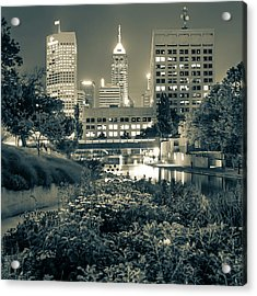 Indianapolis Canal Walk Skyline Sepia 1x1  Acrylic Print by Gregory Ballos
