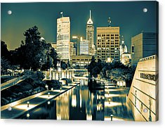 Indianapolis Downtown City Skyline - Sepia Burn Acrylic Print by Gregory Ballos