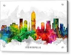 Indianapolis Indiana Cityscape 12 Acrylic Print by Aged Pixel