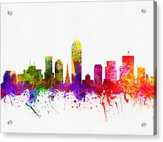 Indianapolis Indiana Skyline Color02 Acrylic Print by Aged Pixel