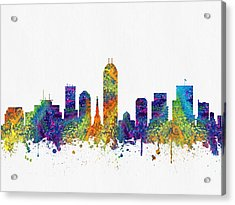 Indianapolis Indiana Skyline Color03 Acrylic Print by Aged Pixel