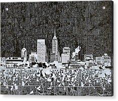 Indianapolis Skyline Abstract 10 Acrylic Print