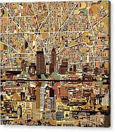 Indianapolis Skyline Abstract 2 Acrylic Print
