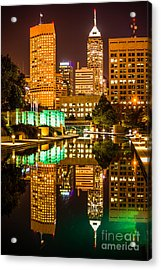 Indianapolis Skyline At Night Canal Reflection Picture Acrylic Print