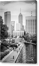 Indianapolis Skyline Black And White Photo Acrylic Print