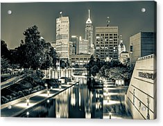 Indianapolis Skyline - Canal Walk Bridge View In Sepia Acrylic Print