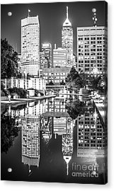 Indianapolis Skyline Central Canal Black And White Photo Acrylic Print