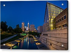 Indianapolis Skyline From The Canal At Night Acrylic Print by Ron Pate