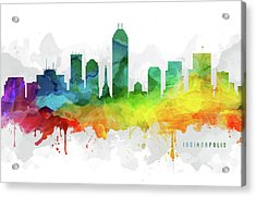 Indianapolis Skyline Mmr-usinin05 Acrylic Print by Aged Pixel