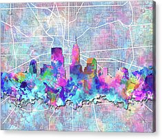 Indianapolis Skyline Watercolor 5 5 Acrylic Print