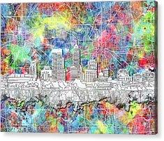 Indianapolis Skyline Watercolor 8 Acrylic Print